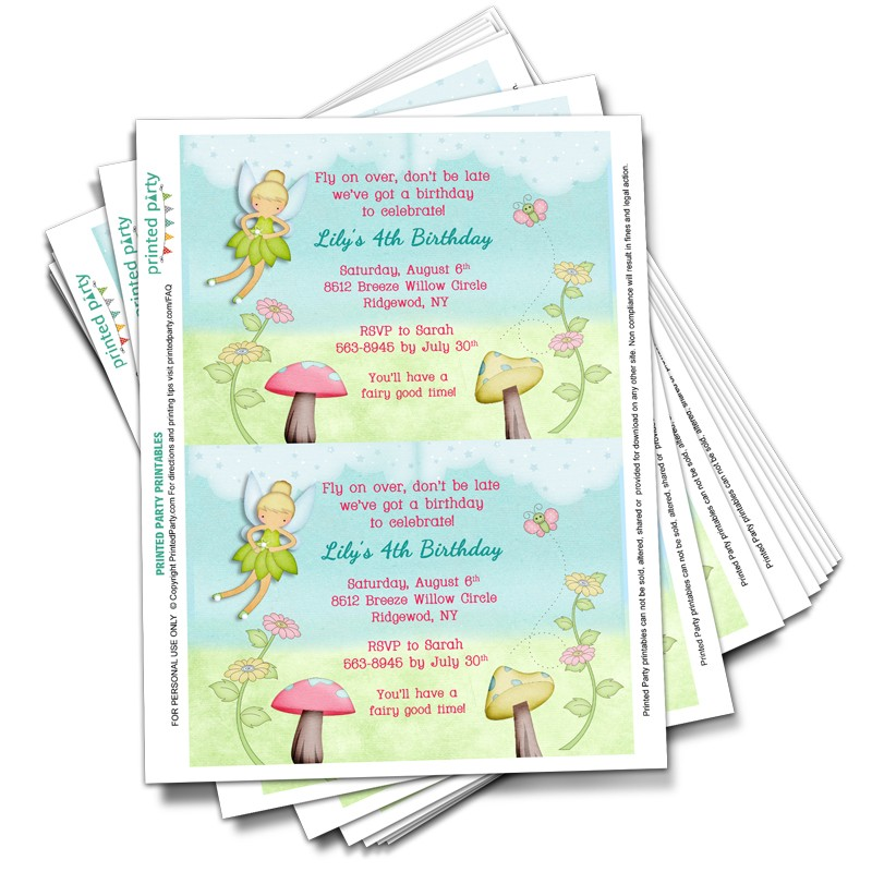 Printable Tinkerbell Inspired Fairy Party Invitations - Template ...