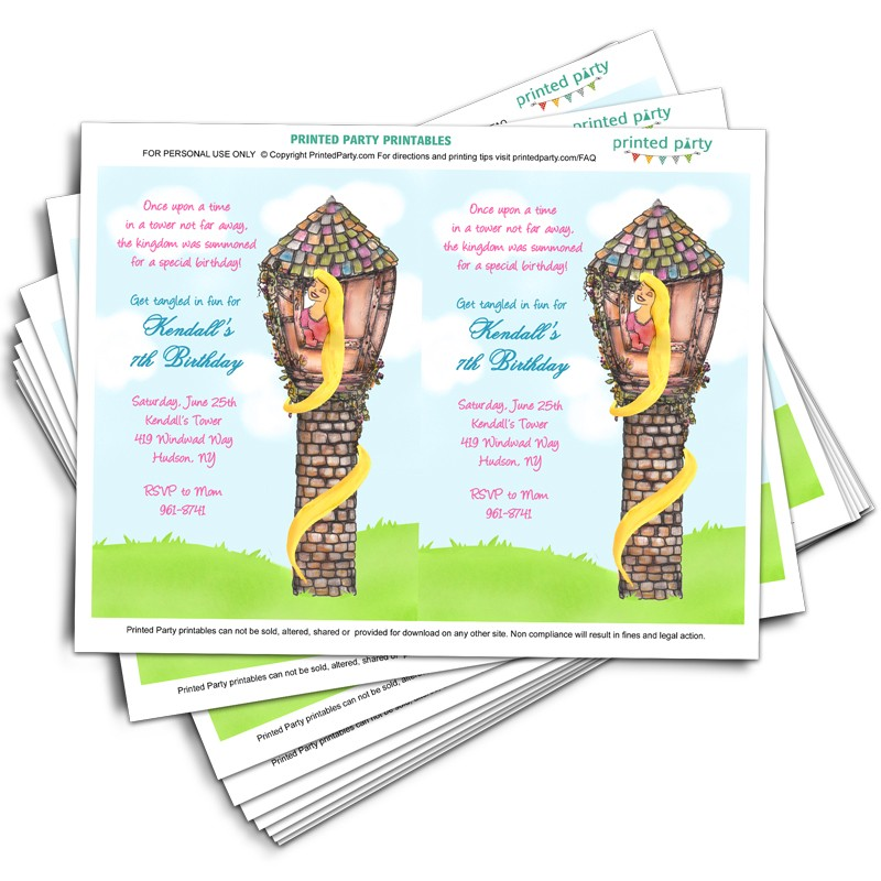 Printable Tangled Party Invitations