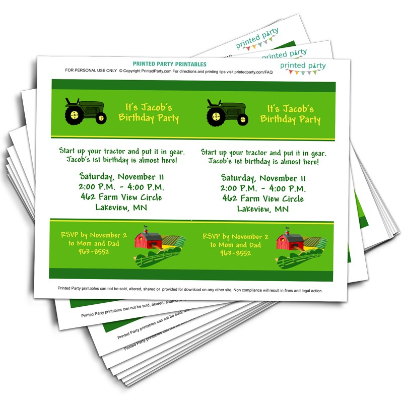 Printable Tractor Birthday Party Invitation Template