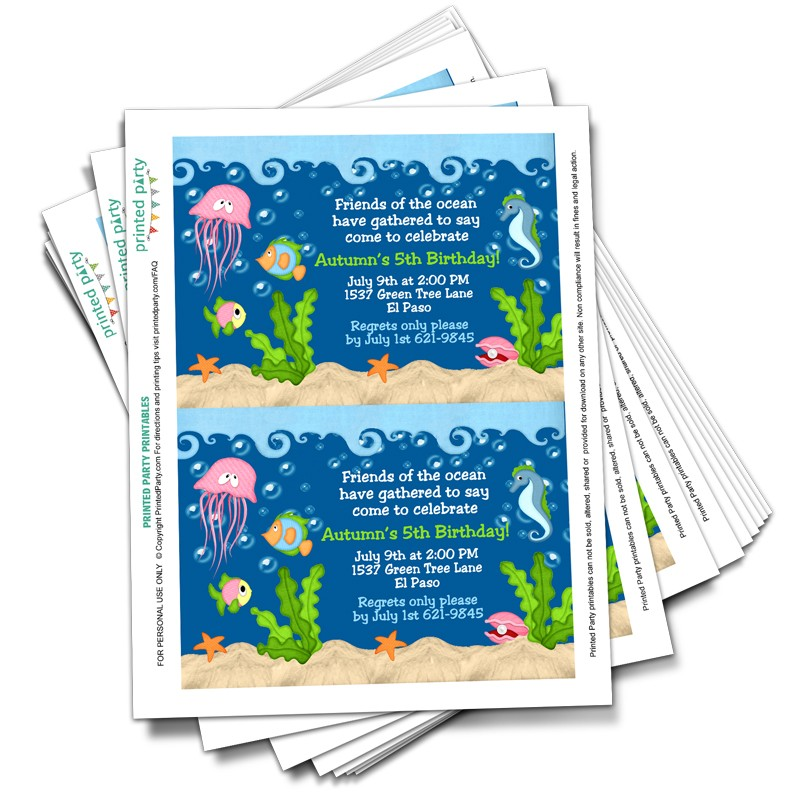 Printable Under The Sea Invitations