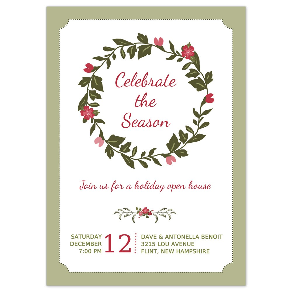 Printable Christmas Party Invitation Template Holiday Wreath Design
