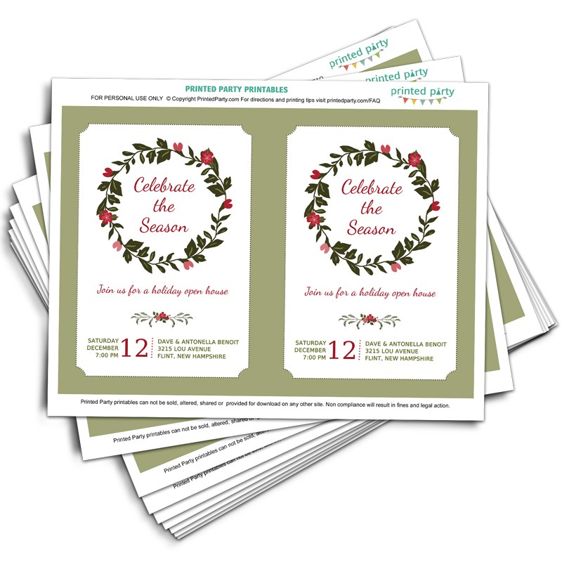 Printable Christmas Party Invitation Template | Holiday Wreath Design