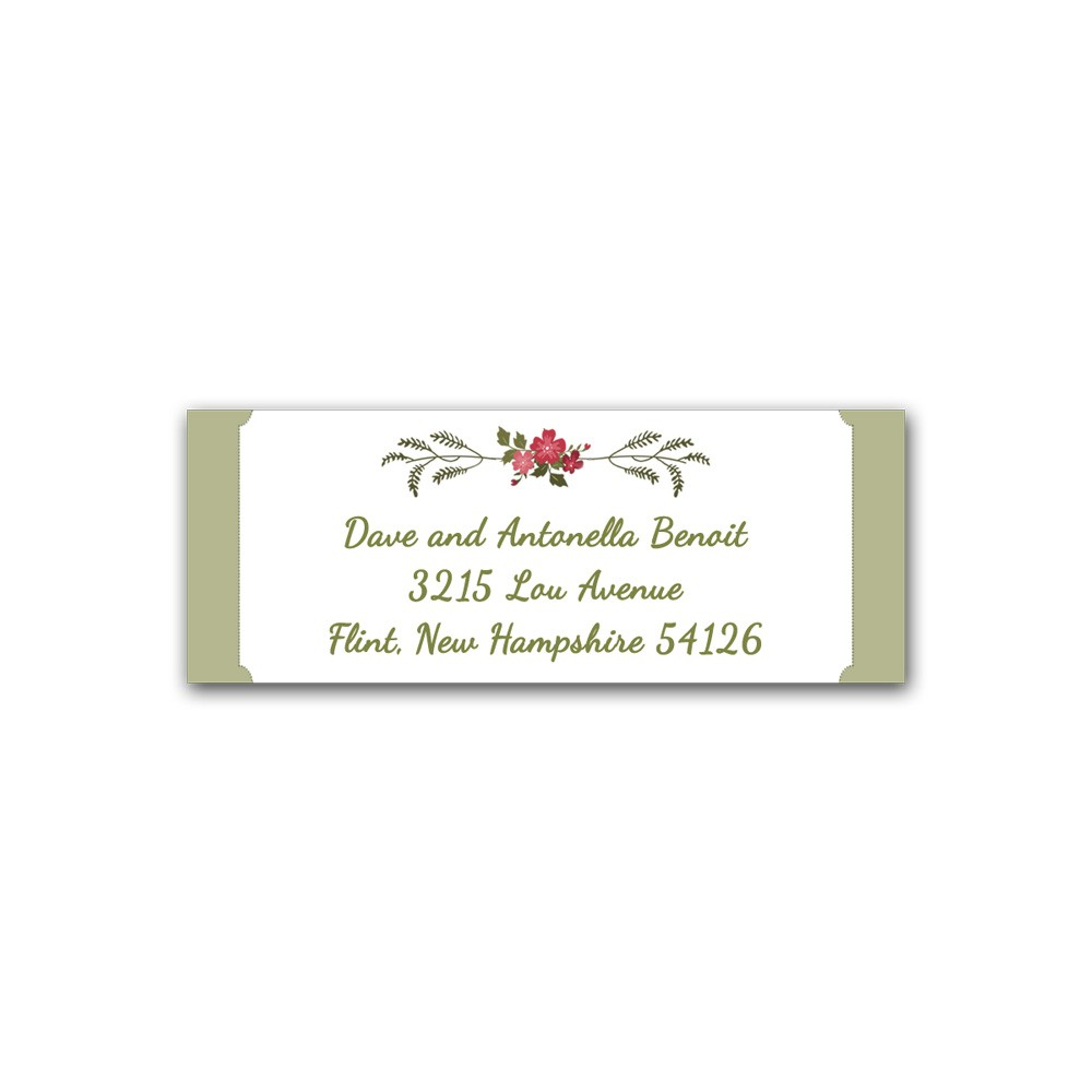 Christmas Address Labels Printed - Set of 30 - Floral Wreath with Green