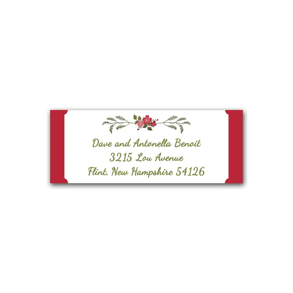 holiday address label floral wreath with red printed party