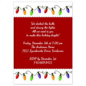 Christmas Party Invitations | Christmas Lights Design | Printed with Envelopes Included